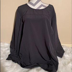 Lands End Size 26W Black 3/4 Sleeve Blouse